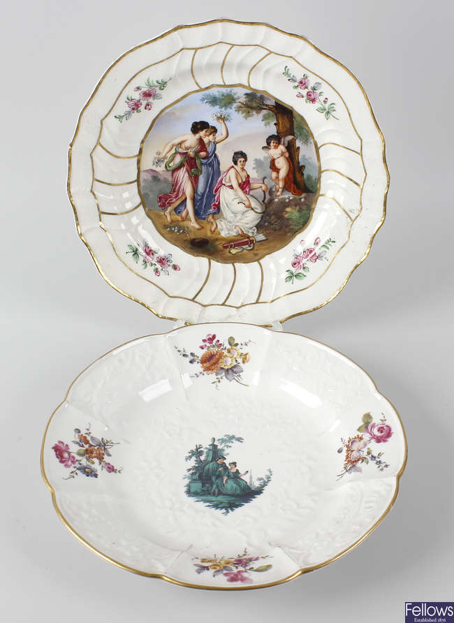 Two 19th century Meissen porcelain dish plus a pot and cover