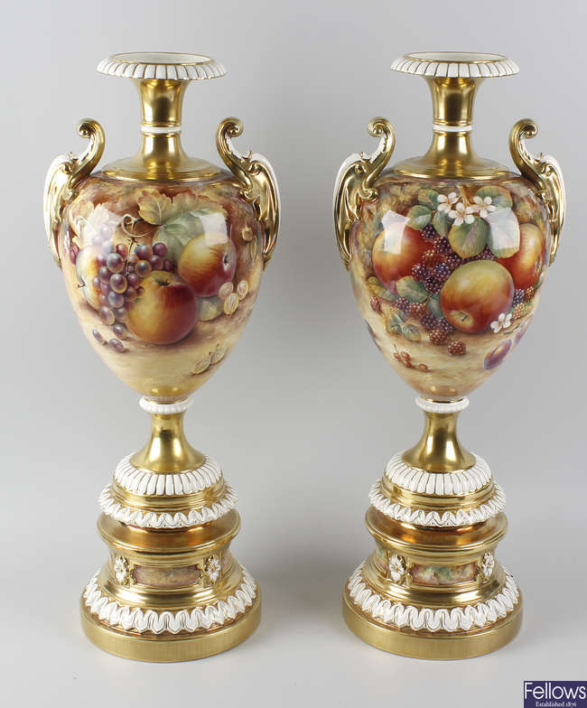 A fine large pair of Royal Worcester porcelain.