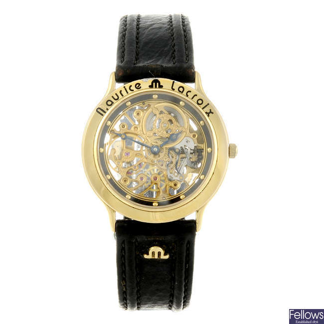 MAURICE LACROIX - a gentleman's gold plated wrist watch.