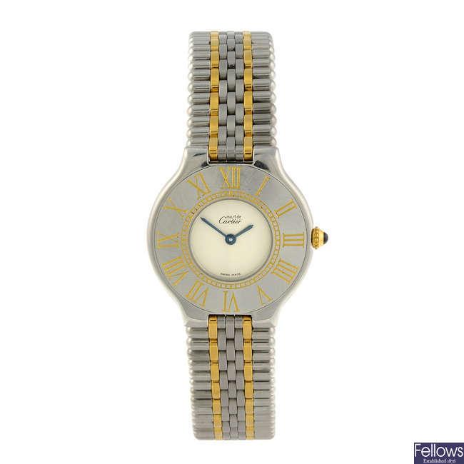 CARTIER - a stainless steel Must De Cartier 21 bracelet watch.
