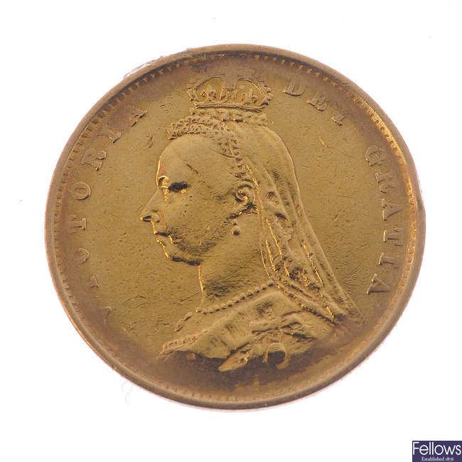 Victoria, Half-Sovereign 1887, rev. shield (S 3869).