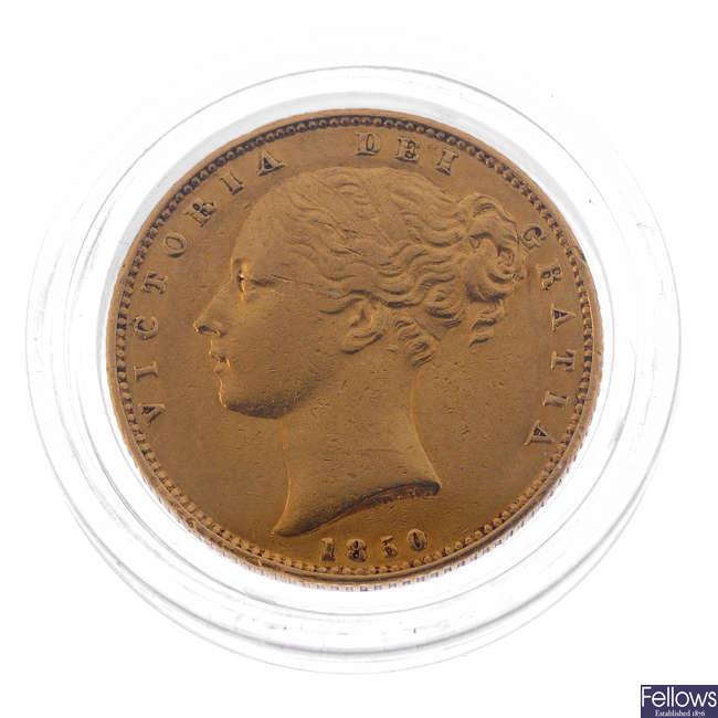 Victoria, Sovereign 1850, rev. shield (S 3852C).
