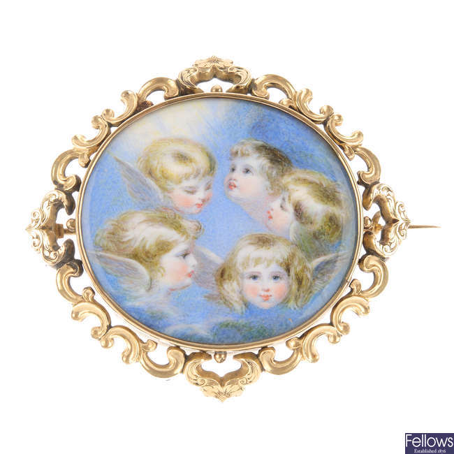 A late 19th century hand painted memorial brooch.