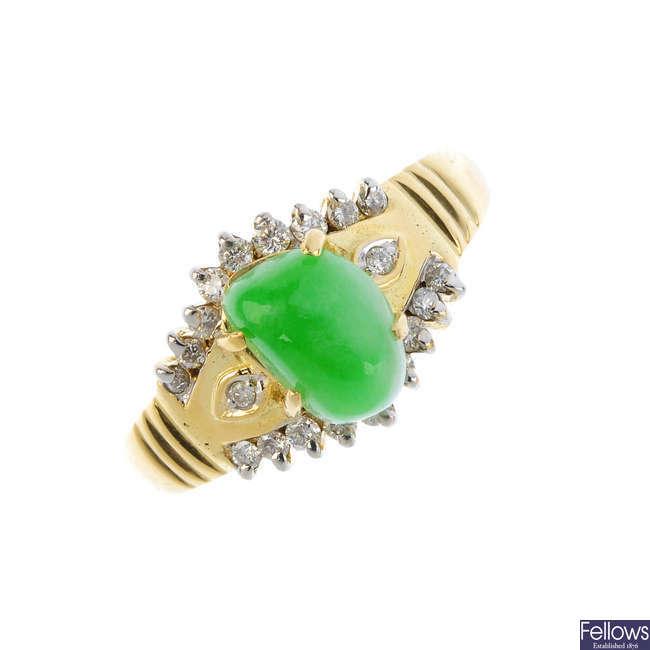 A jade and diamond dress ring.