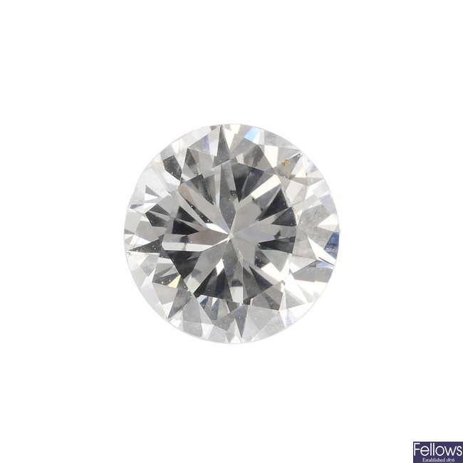 A brilliant-cut diamond, weighing 0.43ct.