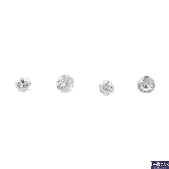 Four brilliant-cut diamonds, total weight 0.44ct.