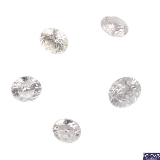 Five brilliant-cut diamonds, total weight 0.47ct.