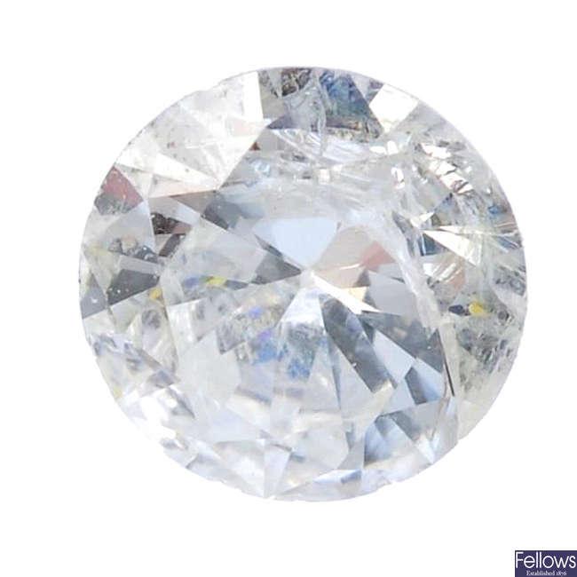 Six brilliant-cut diamonds, total weight 0.67ct.