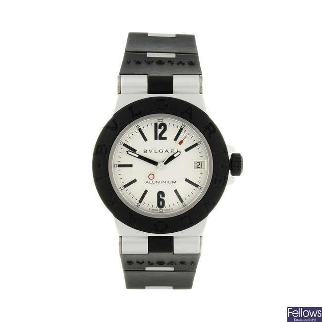 BULGARI - a lady's aluminium Diagono Aluminium wrist watch.