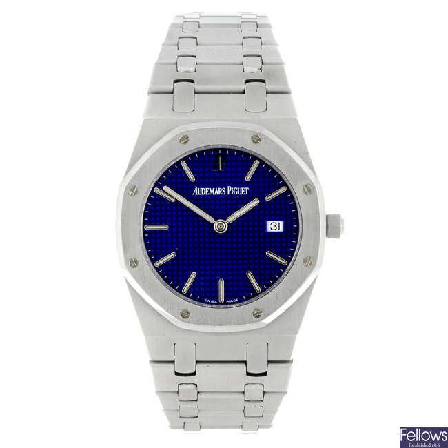 AUDEMARS PIGUET - a limited edition gentleman's stainless steel Royal Oak 25th Anniversary bracelet watch.