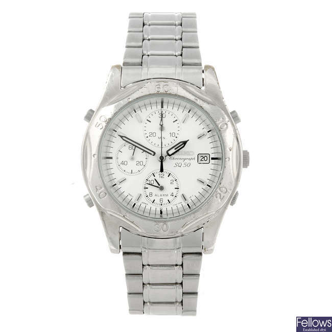SEIKO - a gentleman's stainless steel SQ 50 chronograph bracelet watch.