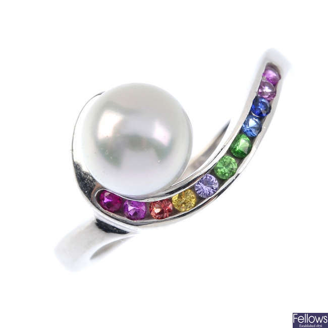 A 14ct gold cultured pearl and multi-gem ring.