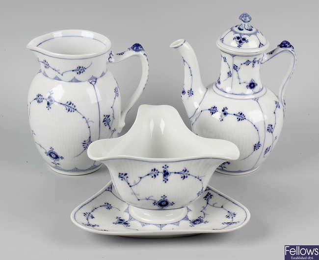 A large collection of Royal Copenhagen porcelain fluted dinner and tea wares