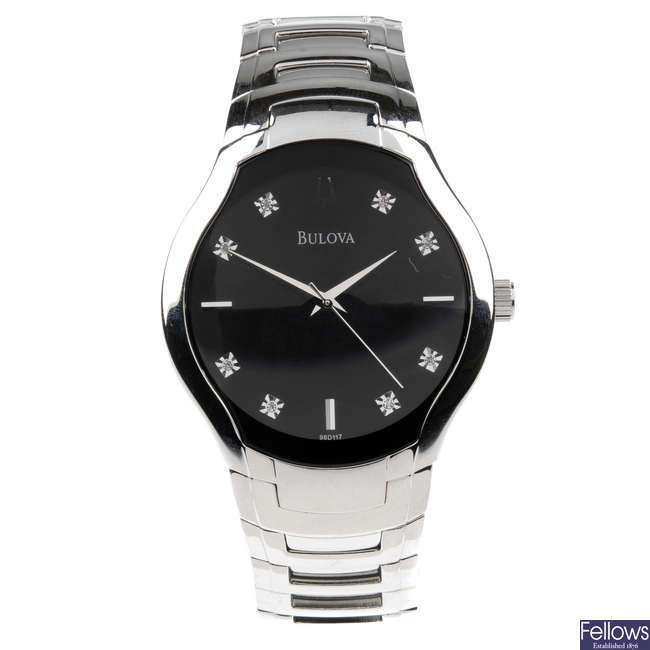 BULOVA - a gentleman's stainless steel bracelet watch with two other Bulova watches.