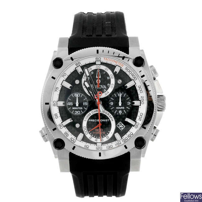 BULOVA - a gentleman's stainless steel Precisionist chronograph wrist watch with two Bulova watches.