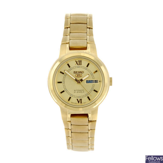 SEIKO - a lady's gold plated bracelet watch with another lady's Sekio bracelet watch