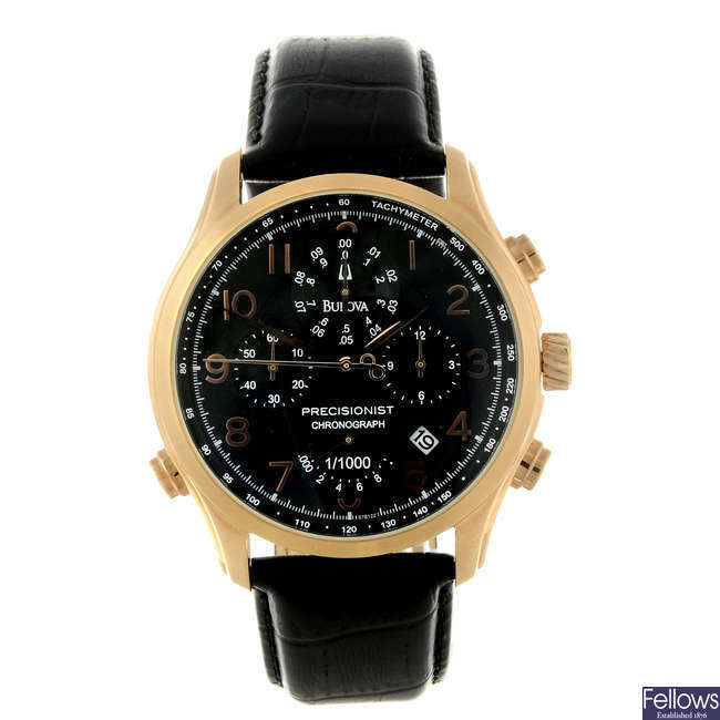 BULOVA - a gentleman's gold plated Precisionist chronograph wrist watch.