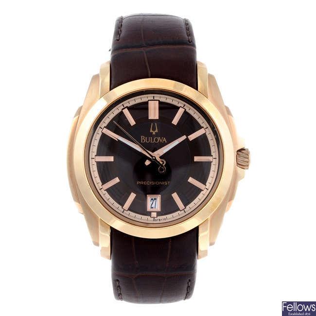 BULOVA - a gentleman's rose gold plated Precisionist wrist watch.