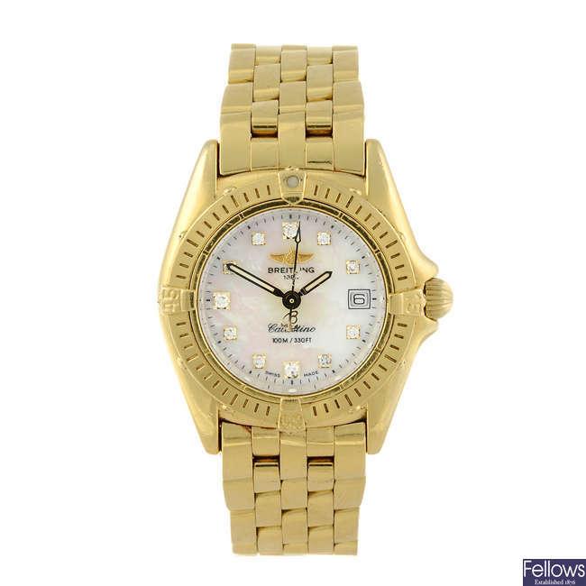 BREITLING - a lady's 18ct yellow gold Callistino bracelet watch.