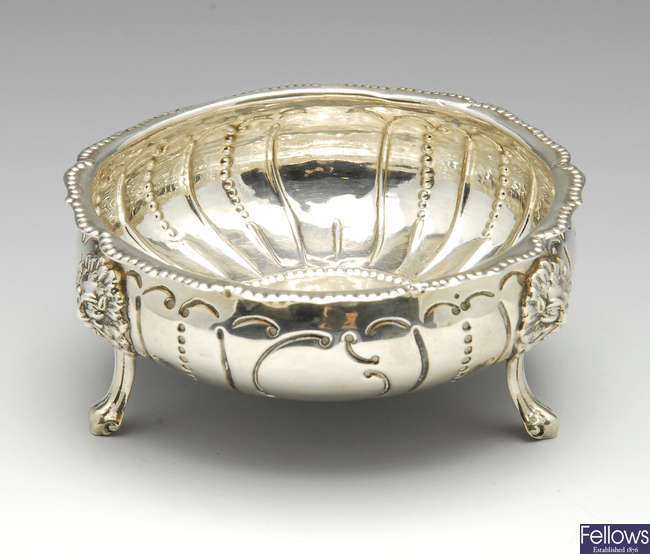 A mid-Victorian silver bowl, plus a silver sauce boat.