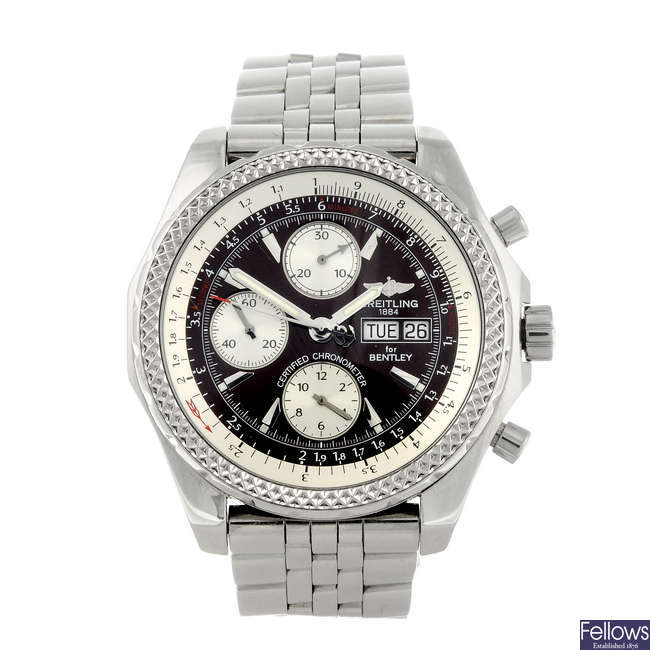 BREITLING - a gentleman's stainless steel Breitling For Bentley GT chronograph bracelet watch.