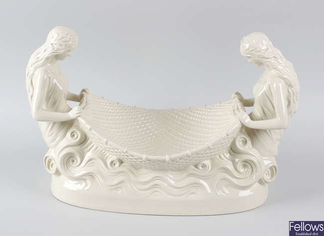 An impressive Wedgwood Queensware 'Naiads' dessert bowl or table centrepiece