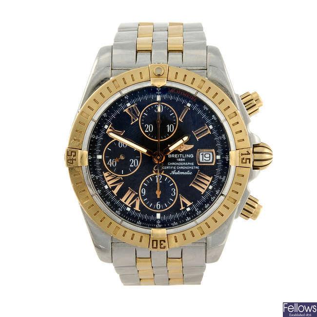 BREITLING - a gentleman's bi-colour Chronomat Evolution chronograph bracelet watch.