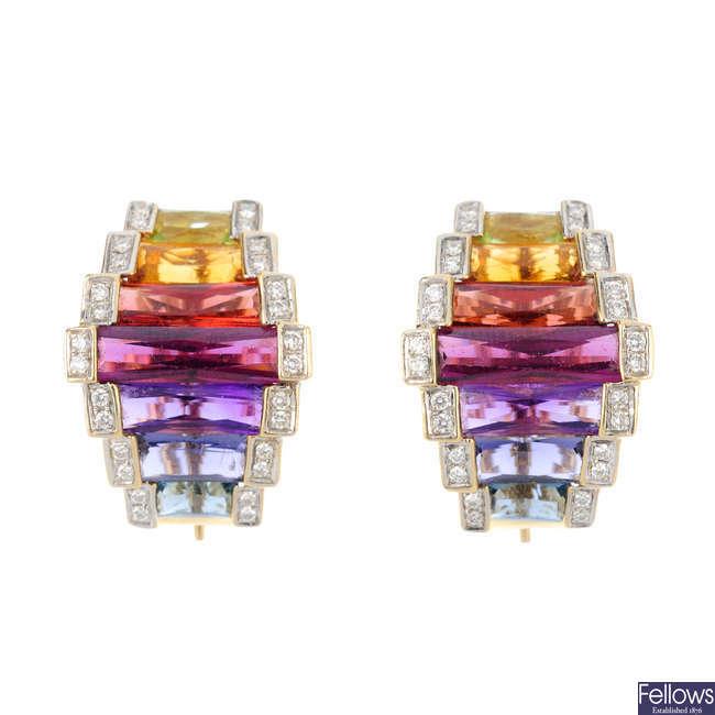 A pair of multi-gem and diamond earrings.