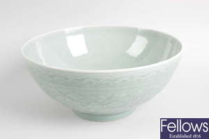 A Chinese celadon green bowl