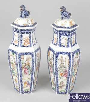 A good pair of Chinese porcelain vases and covers