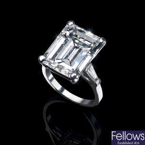 A large diamond single-stone ring, of 13.86cts.